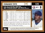 2002 Topps #16  Fernando Tatis  Back Thumbnail