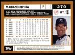 2002 Topps #270  Mariano Rivera  Back Thumbnail
