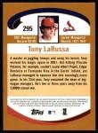 2002 Topps #295  Tony La Russa  Back Thumbnail