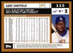 2002 Topps #115  Gary Sheffield  Back Thumbnail