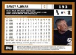 2002 Topps #193  Sandy Alomar Jr.  Back Thumbnail
