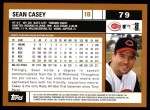 2002 Topps #79  Sean Casey  Back Thumbnail