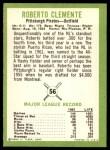 1963 Fleer #56  Roberto Clemente  Back Thumbnail
