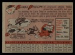 1958 Topps #212  Bubba Phillips  Back Thumbnail