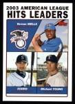 2004 Topps #338   -  Vernon Wells / Ichiro Suzuki / Michael Young Leaders Front Thumbnail