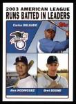 2004 Topps #340   -  Carlos Delgado / Alex Rodriguez / Bret Boone Leaders Front Thumbnail