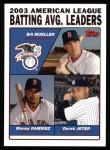 2004 Topps #337   -  Bill Mueller / Manny Ramirez / Derek Jeter Leaders Front Thumbnail