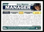 2004 Topps #292  Bob Melvin  Back Thumbnail