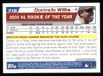 2004 Topps #718  Dontrelle Willis  Back Thumbnail