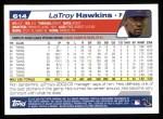 2004 Topps #614  LaTroy Hawkins  Back Thumbnail