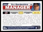 2004 Topps #283  Ron Gardenhire  Back Thumbnail