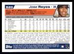 2004 Topps #520  Jose Reyes  Back Thumbnail
