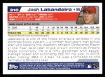 2004 Topps #310   -  Josh Labandeira First Year Back Thumbnail