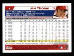 2004 Topps #1  Jim Thome  Back Thumbnail