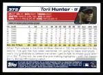 2004 Topps #372  Torii Hunter  Back Thumbnail