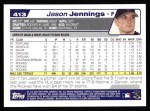 2004 Topps #413  Jason Jennings  Back Thumbnail