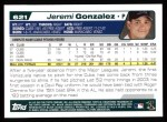 2004 Topps #621  Jeremi Gonzalez  Back Thumbnail