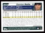 2004 Topps #603  Damian Rolls  Back Thumbnail