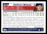 2004 Topps #673  Matthew Moses  Back Thumbnail