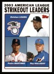 2004 Topps #342   -  Esteban Loaiza / Pedro Martinez / Roy Halladay Leaders Front Thumbnail