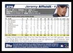 2004 Topps #376  Jeremy Affeldt  Back Thumbnail
