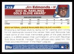 2004 Topps #713   -  Jim Edmonds Golden Glove Back Thumbnail