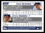 2004 Topps #330  Zack Greinke / Jimmy Gobble  Back Thumbnail