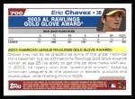 2004 Topps #700   -  Eric Chavez Golden Glove Back Thumbnail