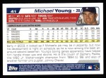 2004 Topps #41  Michael Young  Back Thumbnail