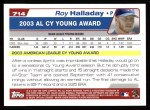 2004 Topps #714  Roy Halladay  Back Thumbnail
