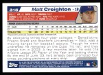 2004 Topps #315   -  Matt Creighton First Year Back Thumbnail