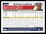 2004 Topps #379  Matthew LeCroy  Back Thumbnail