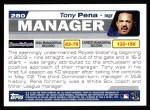 2004 Topps #280  Tony Pena  Back Thumbnail