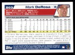 2004 Topps #503  Mark DeRosa  Back Thumbnail