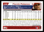 2004 Topps #117  Placido Polanco  Back Thumbnail