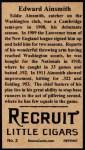 1912 T207 Reprint #2  Eddie Ainsmith  Back Thumbnail