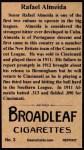 1912 T207 Reprint #3   Rafael Almeida  Back Thumbnail