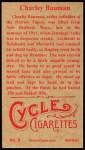 1912 T207 Reprint #8  Charley Bauman  Back Thumbnail