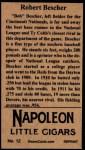 1912 T207 Reprint #12  Bob Bescher  Back Thumbnail