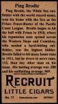 1912 T207 Reprints #17  Ping Bodie   Back Thumbnail