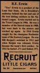 1912 T207 Reprint #54  R.E Erwin  Back Thumbnail