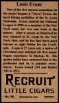1912 T207 Reprint #55  Louis Evans  Back Thumbnail