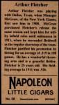 1912 T207 Reprint #58  Arthur Fletcher  Back Thumbnail