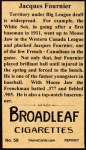 1912 T207 Reprint #59  Jacques Fournier  Back Thumbnail