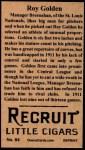 1912 T207 Reprint  Roy Golden  Back Thumbnail