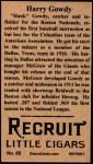 1912 T207 Reprint #65  Hank Gowdy  Back Thumbnail