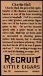 1912 T207 Reprints #70  Charlie Hall  Back Thumbnail