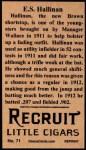 1912 T207 Reprints #71  E.S. Hallinan  Back Thumbnail