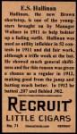 1912 T207 Reprint #71  E.S. Hallinan  Back Thumbnail
