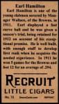 1912 T207 Reprint #72  Earl Hamilton  Back Thumbnail